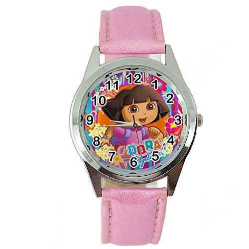 taport® Dora the Explorer reloj de cuarzo rosa piel banda + libre batería de repuesto + libre bolsa de regalo
