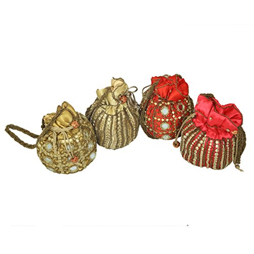 Kuber Industries™ Ethnic Mirror Work Rajasthani Potli Bag / Clutch / Bridal Clutch ( Set of 4 ) - BG48  available at amazon for Rs.899