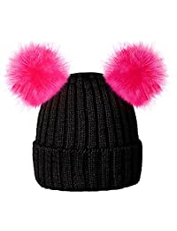 ce0c6372d0f RockJock Enfants Filles Chapeau Chaud Bonnet Doux d hiver avec Deux  Oreilles Pompon de Fourrure