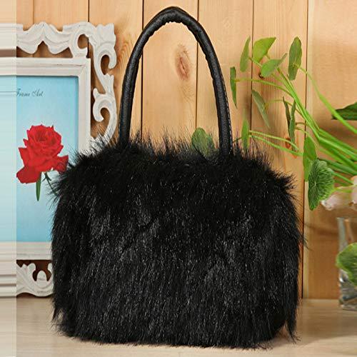 Vendita calda moda semplice da donna moda da donna pu pelle e alta qualità pelliccia sintetica borsa a tracolla borsa nera l