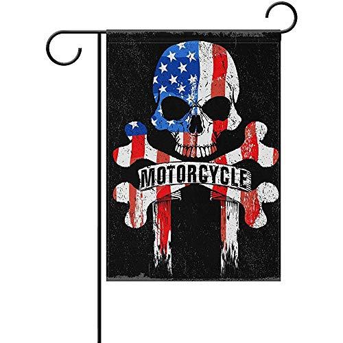 Souryi Willkommen zu Hause Cafe Racer amerikanische Flagge Schädel Garten Flagge vertikale doppelseitige Outdoor Yard Decor -