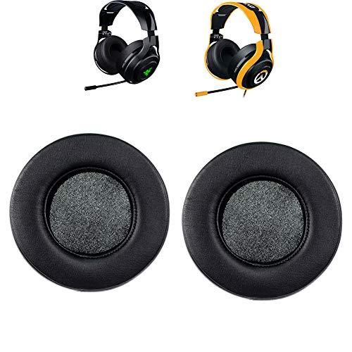 Remplacement de coussinets d'oreille + Serre-Tête Housse/coussin/Tasses/Coussinets réparation pièces Compatible avec Razer Mano'War filaire/sans fil son surround 7.1Casque de gaming Only ear cushions