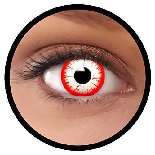 FXEYEZ® Farbige Kontaktlinsen rot weiß Night Zombie + Linsenbehälter, weich, ohne Stärke als 2er Pack - angenehm zu tragen und perfekt zu Halloween, Karneval, Fasching oder Fasnacht