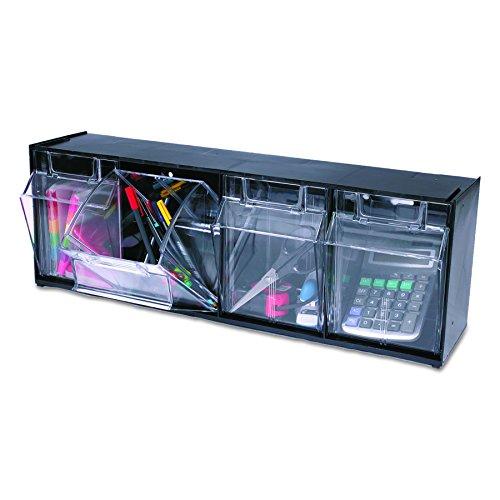Tilt Bin Plastic Storage System w/4 Bins, 23 5/8 x 6 5/8 x 8 1/8, Black -