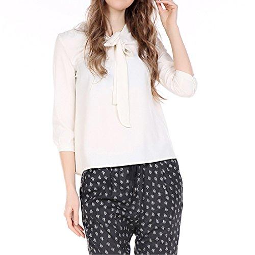 QIYUN.Z Frauen-Ol White 3/4 Lange aermel Einfarbig Fashion Neue Shirts T-Shirts Blusen Weiße