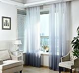 Nibesser Vorhänge Transparent Schlaufenschal Gardine Dekoschal Voile mit Ösen für Schlafzimmer Wohnzimmer 2er set (140Bx245H cm, Weiß und Grau)
