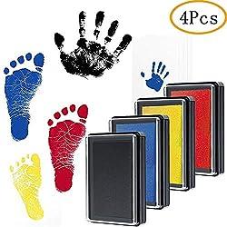 Baby Fu/ßabdruck und Handabdruck 2 pcs Baby Handprint Babyhaut kommt nicht mit Farbe in Ber/ührung und f/ür Neugeborene 0-6 Monate Stempelkissen Ungiftig Inkless Hospaop Baby Fussabdruck Set