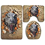 3D Dinosaur Non-Slip Bath Mat Set 3 Piece Bathroom Mat Set Includes Bathroom Rugs/Contour Mat/Toilet Cover