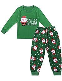 Agoky Unisex Niños Niñas Conjunto Ropa Navidad Traje Pijamas de Algodón Tops Camisa Manga Larga Dibujos Santas + Pantalones Largos Otoño Invierno 1~7 Años