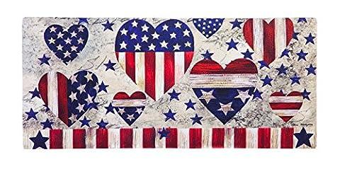 Evergreen Patriotische Herzen dekorative Fußmatte einfügen, 25,4x 55,9cm