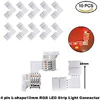 Eleidgs 10Pack L a forma di connettore rapido LED connettori angolari LED Striscia connettore RGB 5050 connettore della striscia LED, connettori angolari 10 mm