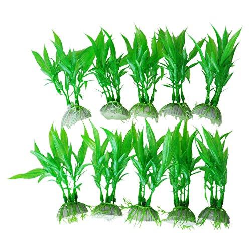 SODIAL(R) 10 Stk. gruene Pflanzen aus Kunststoff fuer Aquarium Tank