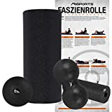 Faszienrolle + Massageball inkl. Übungsposter | FASZIENSET - Professional Studio Qualität | Massagerolle Foamroller (Schwarz)