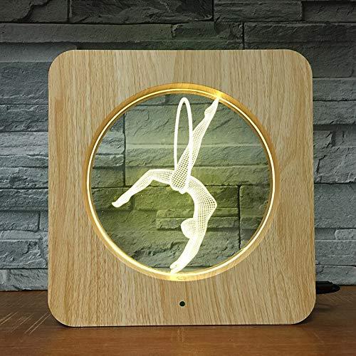 Yoga Gym 3D LED Woodgrain Night Lights DIY Lámparas personalizadas Niños Cumpleaños...