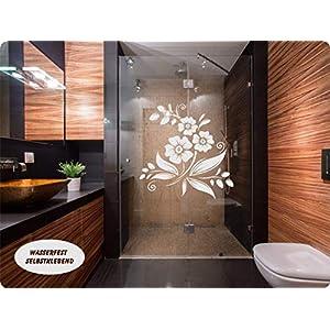 Aufkleber Folie Tattoo Glasdekorfolie Bad Dusche Duschwand Badezimmer Glasdekor GD42 Ornament Blume