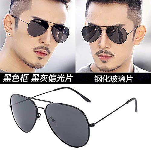 CFLFDC Sonnenbrillen Temperierte Glasbrille Sonnenbrille Männliche Fahrer Polarisierende Brille Polarisierende Fahrt Schwarz-gerahmte schwarzgraue Scheiben (Glaslinsen)