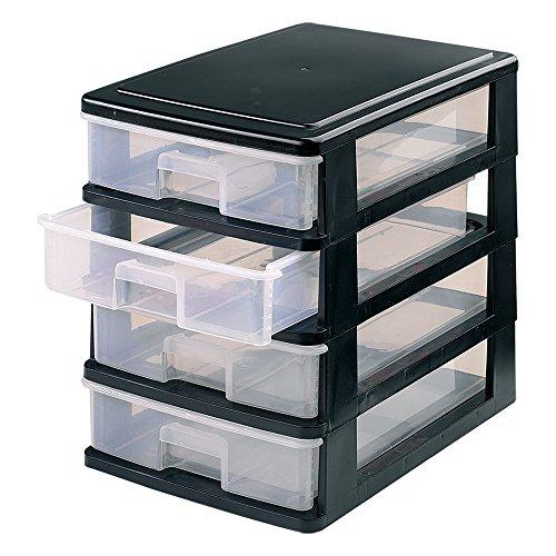 Tolles Kunststoff 4Stück kleine Schubladen, schwarz -
