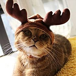 Kungfu Mall gorro de disfraz de mascota gato perro cuernos de Navidad Cap mascota perro ropa cuernos de reno gorro de invierno cachorro de perro gato diadema Navidad cuello (FBA llegará)