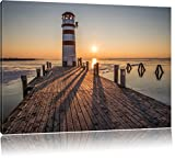 Leuchtturm am Steg im Sonnenuntergang, Format: 100x70 auf Leinwand, XXL riesige Bilder fertig gerahmt mit Keilrahmen, Kunstdruck auf Wandbild mit Rahmen, günstiger als Gemälde oder Ölbild, kein Poster oder Plakat