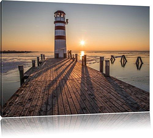 Pixxprint Leuchtturm am Steg im Sonnenuntergang, Format: 100x70 auf Leinwand, riesige Bilder fertig gerahmt mit Keilrahmen, Kunstdruck auf Wandbild mit Rahmen