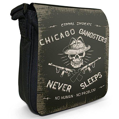 Grunge Kult Spaß Totenkopf Kunst Hipster Musik Kleine Schultertasche aus schwarzem Canvas Chicago Gangsters Never Sleep