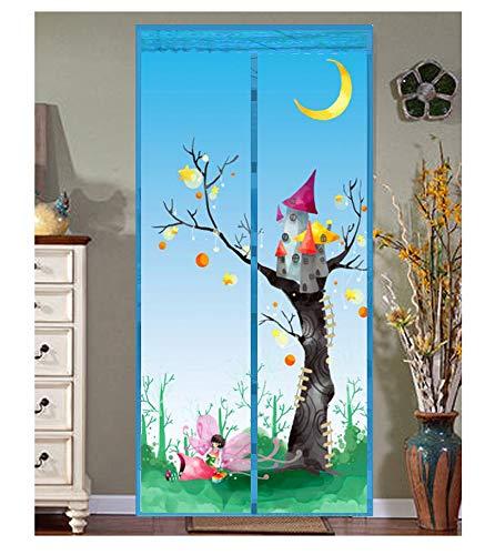 Jacquard-schnalle (GH-YS Magnetischer Insektenvorhang, Verschlüsselungsfreie Schnalle Balkon Wohnzimmer Kinderzimmer Fliegen Automatisch Schließenden Vorhang,SkyBlue,90 * 210)