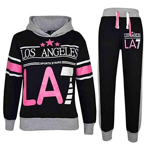 Enfants Combinaison Survêtement Los Angeles LA7Impression à capuche et pantalon jogging fille 78910111213ans - Multicolore - 158 cm