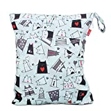 Damero windeltasche wetbag für Unterwegs, wiederverwendbar Nasstaschen für Babys Windeln, schmutzige Kleidung und anderes Zubehör, (Groß, Katze)