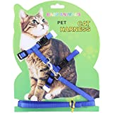 Rrimin Pet Cat Rabbit Lead Leash Durable Nylon Outdoor Collar Adjustable Strap Belt Harness Traction Rope