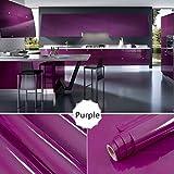 TAOtTAO 13type Couleur brillant meubles Refurbished Stickers PVC amovible papier peint Home Decor, violet, 100*40cm