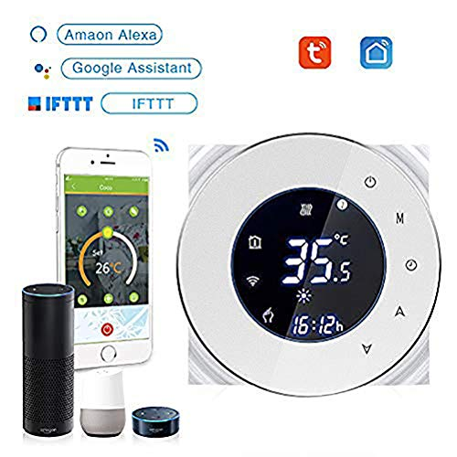 MIJIN Smart Thermostat Mit, WiFi Wireless Smart Home Temperaturregler Schalter Heizung Thermostat Touch Display Mit Temperaturkalibrierung, Frostschutzfunktion -