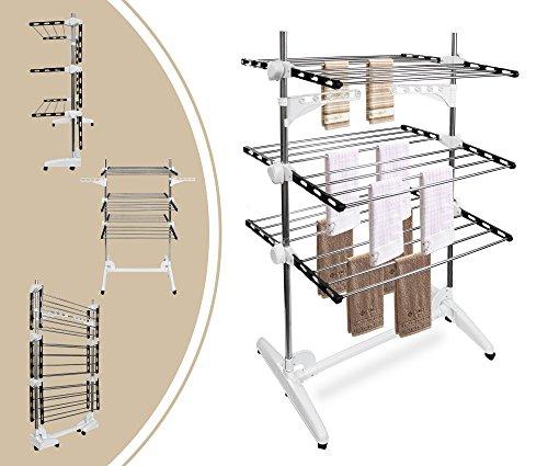 Leogreen - stendino per biancheria, stendibiancheria a torre, 3 ripiani, nero/bianco, con ali, materiale: tubi in acciaio inossidabile, numero di barre: 24