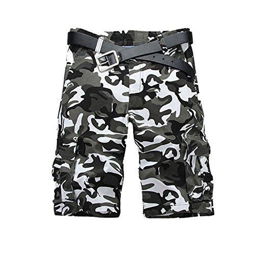 Just No Logo Herren Cargo Shorts kurze Hosen Camo Bermuda Bundhose, Weiß,S/32 - Camo Kurze