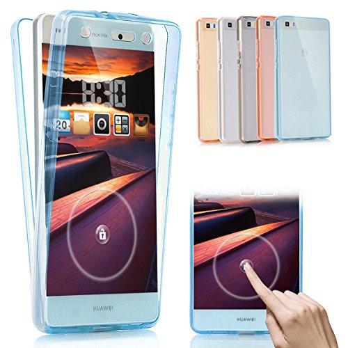 Coque Huawei P8,Etui Huawei P8,Huawei P8 Case,Intégral 360 Degres avant + arrière Full Body Protection Transparente Silicone Gel TPU Souple Housse Etui de Protection Case Coque pour Huawei P8,Bleu