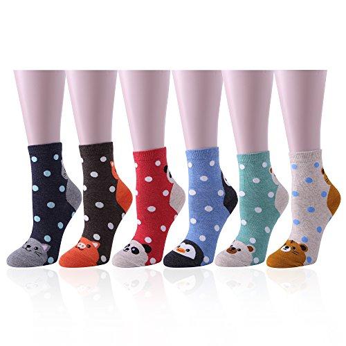 Socken Damen 6 Packung Neuheit Weihnachtssocken Baumwoll Mischung Größe 4-8 Uk 100% Hochwertige Materialien Socken & Strümpfe