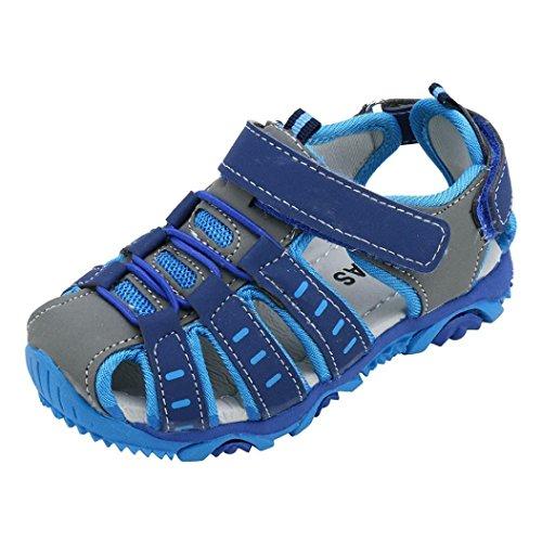 JiaMeng Sandalias para Beb¨¦s Zapatos para Ni?os Peque?os Sandalias de Playa de Verano con Punta Cerrada Zapatos Zapatillas de Deporte(Azul,28)