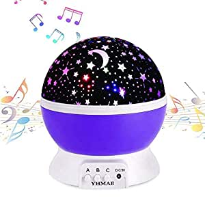 CONNECTWIDE 360 Degree Rotation Projection Light Night Lamp Star with 8 Colours and 6.5 ft USB Cable (Purple)