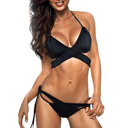 Bikini Damen Push Up, LHWY Elegante Bademode Frauen Bandage Hasp Beachwear Sport Push Up Badeanzug Push Up Bikini Set Neckholder String Schwarz Höschen (M, Schwarz)