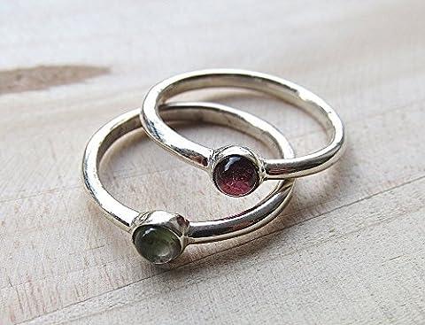 SET OF 2 Stacking Ring/Green Tourmaline Ring/Pink Toumaline Ring/Sterling Silver Ring/Bridal Shower Gift/Gemstone
