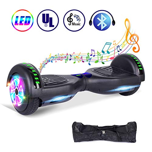 "jolege 6.5"" Elektro Self Balance Scooter mit 600W Smart Hoverboard mit bunten LED Lights Bluetooth Lautsprecher-freier Tragetasche und Ladegerät E-Skateboard E-Scooter"