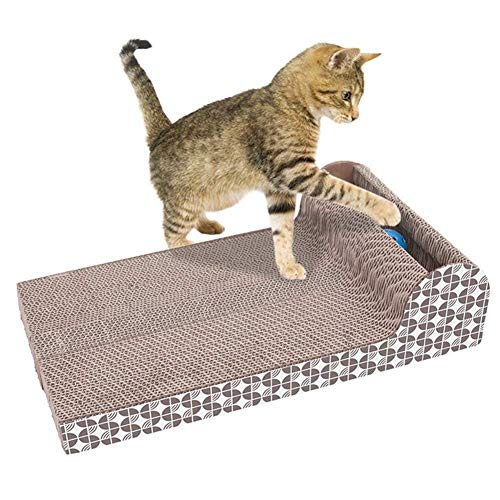 Gezichta Cat Scrath Pads, PET gatto giocattolo Scrath grande piastra orizzontale ondulato tiragraffi divano letto cuscino lounge cartone Toy Claws Care interattivo giocattolo per gatto Scrath e riposo