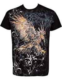 Sakkas Clutching Eagle & Fleur de Lys En relief argent métallique Manches courtes Col rond Coton T-Shirt Fashion homme