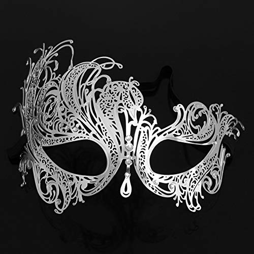 Schmiedeeisen Maske für Männer und Frauen Metall Emaille Diamant Maske Maskerade halbes Gesicht Blindfol,Pink ()