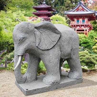 Jardin Rêve éléphant indien Statue Pierre Naturelle – Coronado 70cm(Höhe) gris
