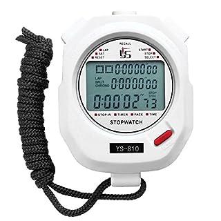 Broadroot Handheld Digital Stopwatch Chronograph Sports Training Timer Stop Watch (White/10 Tracks)