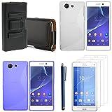VCOMP Sony Xperia Z3 Compact D5803 D5833: Lot Coque Etui Housse Pochette Accessoires Silicone Gel Films Stylet Cuir Clip Ceinture - Bleu