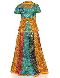 RANGREJA Blue And Yellow Cotton Lehenga Choli For Girls