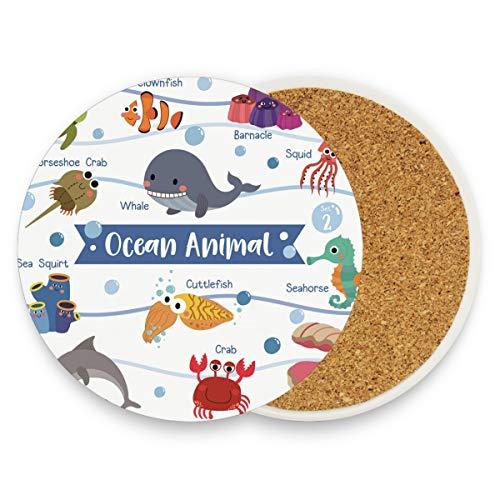 DEZIRO Mehrzweck-Tassenmatte, süßes Ozean, Tier-Delfin, Wal, schützt Möbel vor Wasserflecken oder Beschädigungen, ohne Verschütten, wärmende Geschenke, Dekoration, Holz, 1, 2 pieces set (Tiere Süße Ozean)