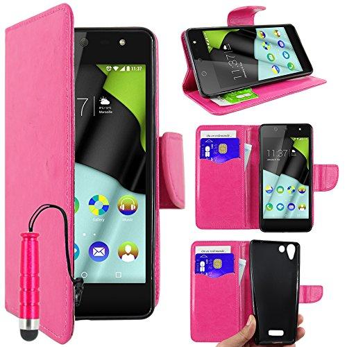 ebestStar - Wiko Selfy 4G Hülle Kunstleder Wallet Case Handyhülle [PU Leder], Kartenfächern, Standfunktion + Mini Stift, Pink [: 141 x 68.4 x 7.7mm, 4.8'']