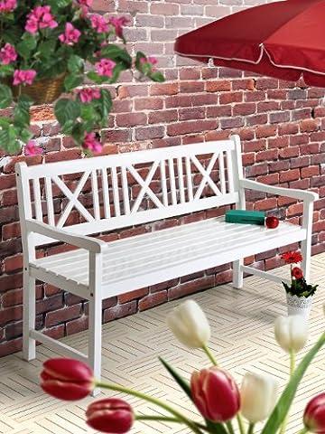 Gartenbank weiß AALBORG Sitzbank Holz 118cm 2-Sitzer Bank